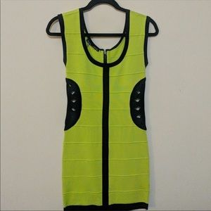 BEBE neon green bandage bodycon cutout dress